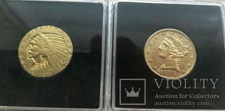 США 10 монет золото 1$  2,5$  5$  10$  20$, фото №9