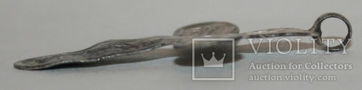 Серебрянный нательный крестик с остатками эмали 84 проба (А.Ч-А.С) 1,2 грамма, фото №5