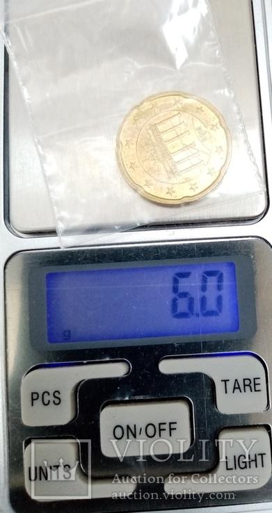"""20 евроцентов 2012г """"G"""" Германия Бранденбургские Ворота, фото №5"""