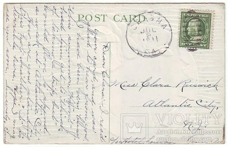 Старинная поздравительная с тиснением. Розы, пейзаж. П/п 1911 г., фото №3