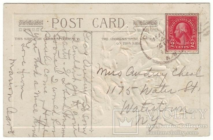 Старинная поздравительная с тиснением. Розы. П/п 1915 г., фото №3