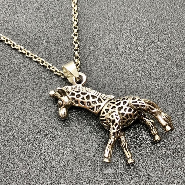 Подвес серебро жираф на цепочке, фото №3