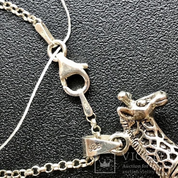 Подвес серебро жираф на цепочке, фото №4