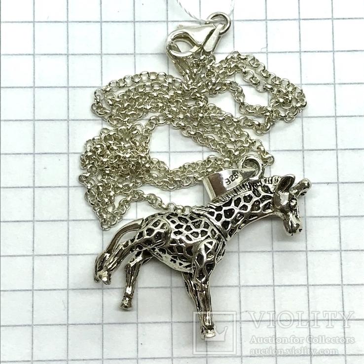 Подвес серебро жираф на цепочке, фото №6