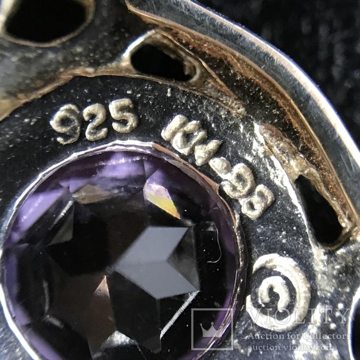 Подвес серебро с аметистом на цепочке, фото №6