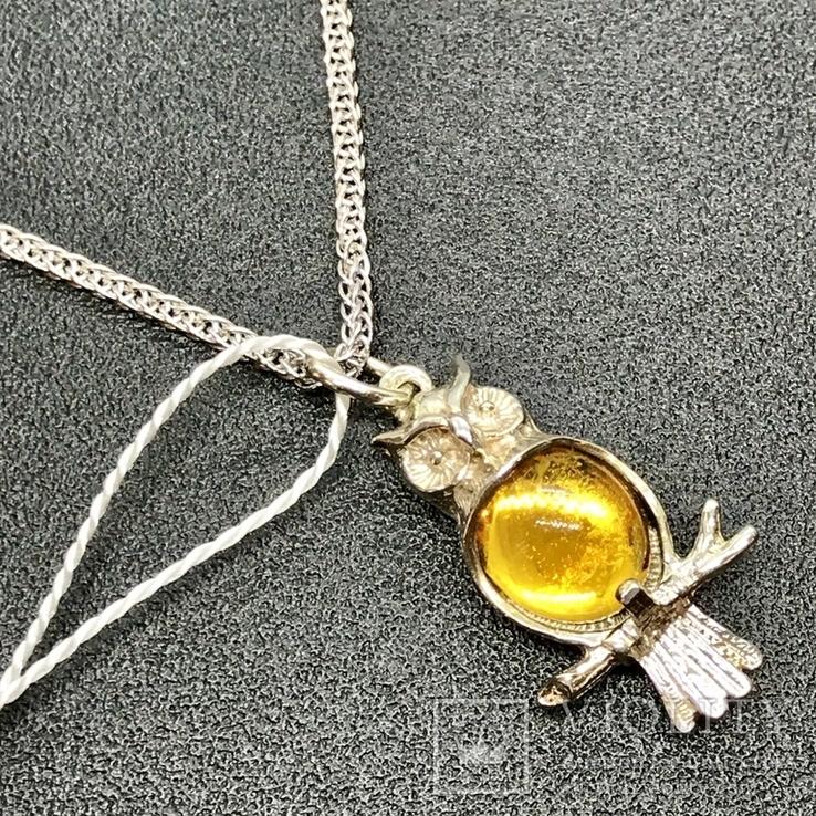 Подвес серебро сова на цепочке, фото №3
