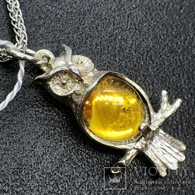 Подвес серебро сова на цепочке, фото №5