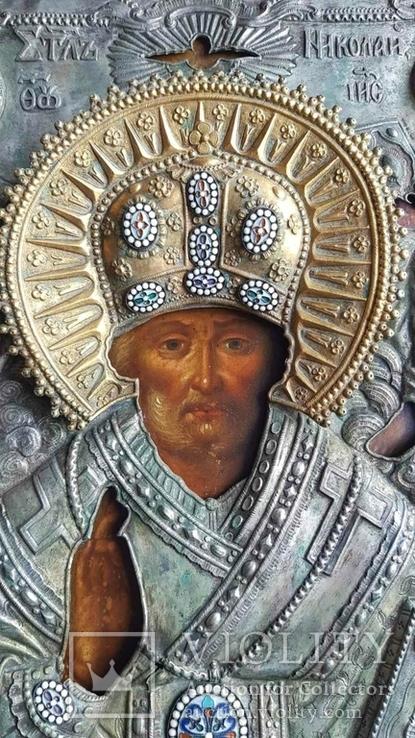 Икона Св. Николай. Оклад серебро., фото №3