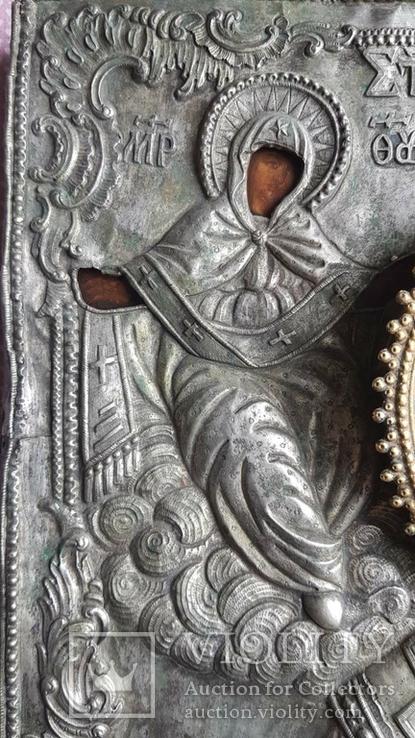 Икона Св. Николай. Оклад серебро., фото №4