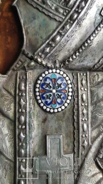 Икона Св. Николай. Оклад серебро., фото №6
