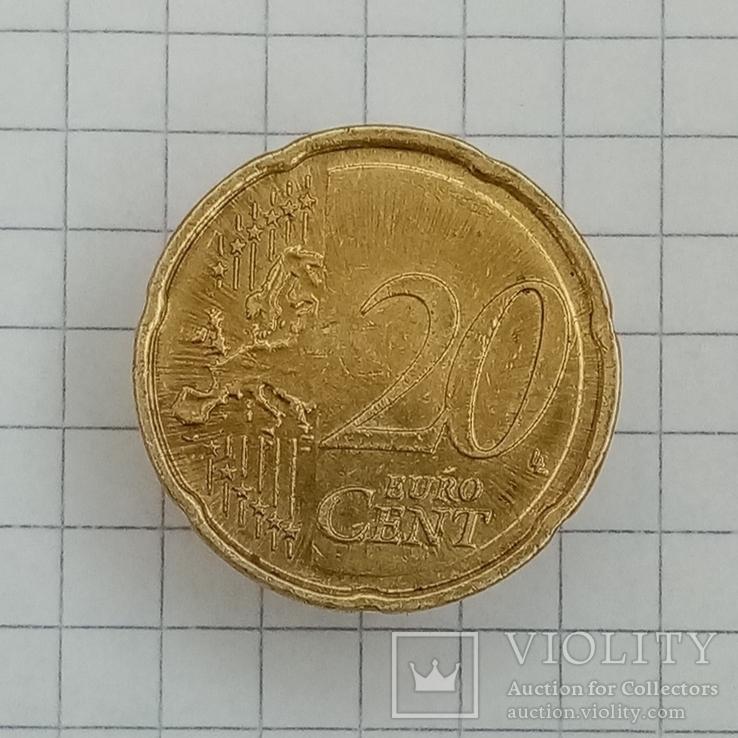 """20 евроцентов 2008г """"F"""" Германия Бранденбургские Ворота, фото №3"""