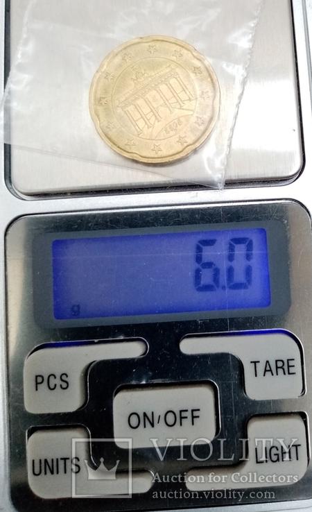 """20 евроцентов 2008г """"F"""" Германия Бранденбургские Ворота, фото №5"""