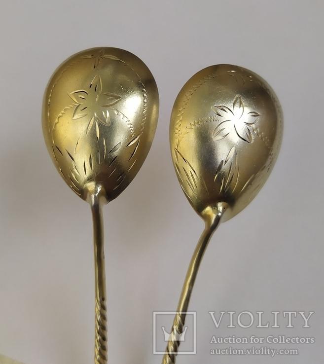 2 чайные серебряные ложки, 875 проба, 1956 г., фото №5
