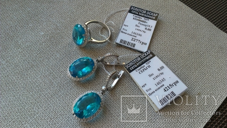 Серьги и кольцо серебро 925,  вставки голубой кварц., фото №3