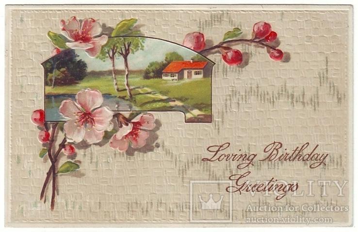 Старинная поздравительная с тиснением. Цветы шиповника, пейзаж. П/п 1913 г., фото №2