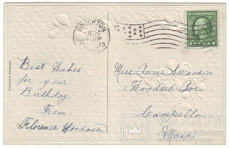 Старинная поздравительная с тиснением. Цветы шиповника, пейзаж. П/п 1913 г., фото №3