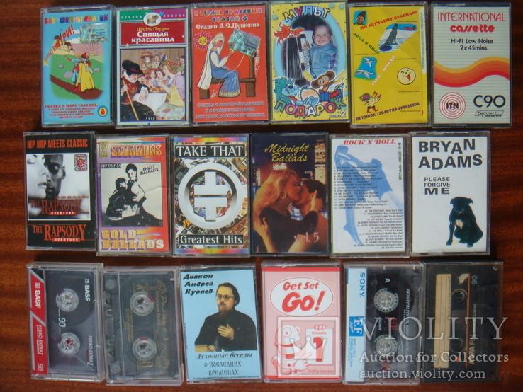 Аудиокассеты 18 штук: Детские, Рок, Релакс, английский, 1 новая., фото №2