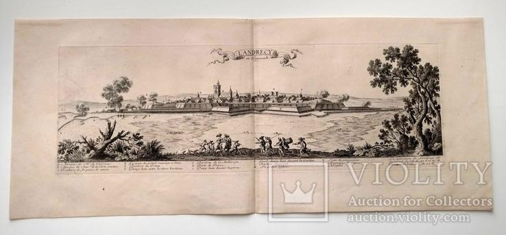 1674 План Ландреси, Франция. Большая карта (62х26, Верже) СерияАнтик, фото №4