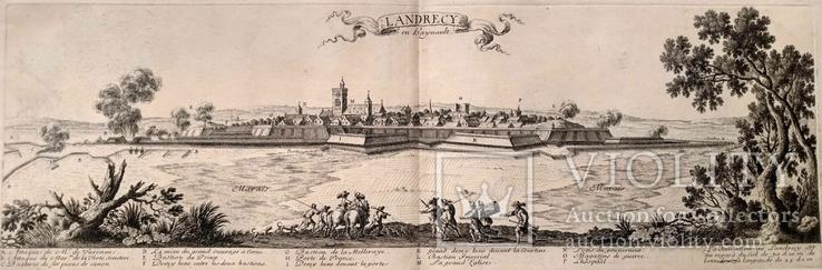 1674 План Ландреси, Франция. Большая карта (62х26, Верже) СерияАнтик, фото №3
