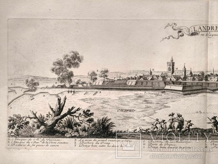1674 План Ландреси, Франция. Большая карта (62х26, Верже) СерияАнтик, фото №5