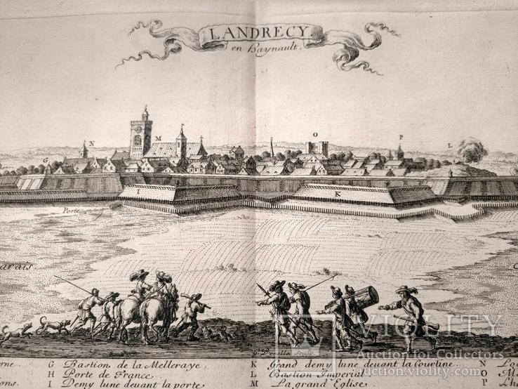 1674 План Ландреси, Франция. Большая карта (62х26, Верже) СерияАнтик
