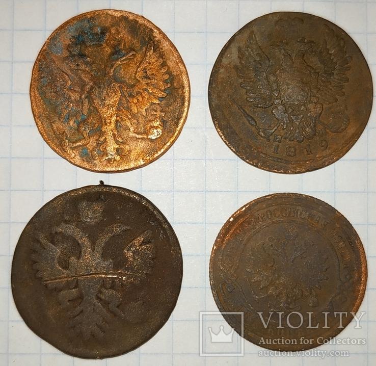 Деньга 1748, 1736; 1 копейка 1819; 2 копейки 1901, фото №2