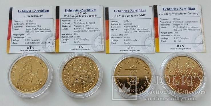 ГДР. Лот 10 марок 1972, 1973, 1974, 1975. Позолоченные в капсуле. Сертификат., фото №2