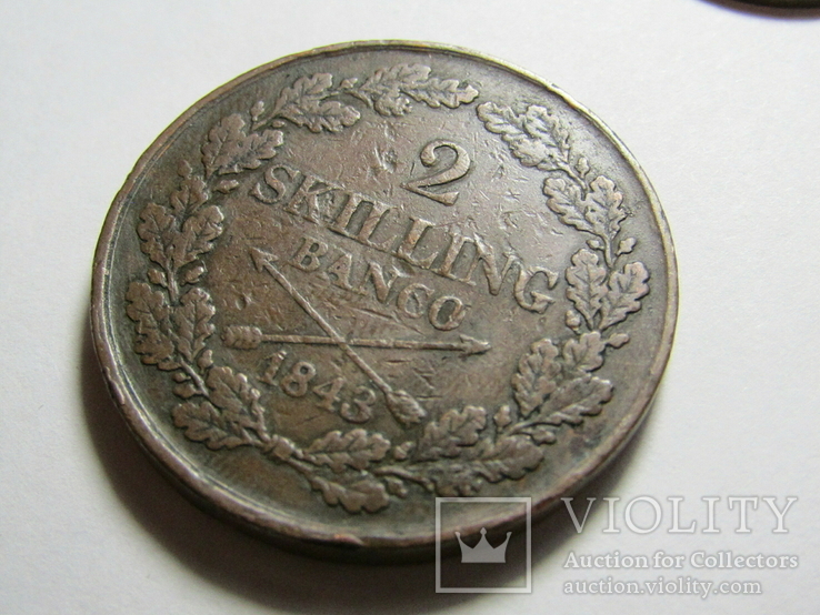 2 скиллинга 1843 Швеция, фото №3