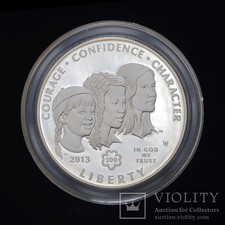 1 Доллар 2013 100 лет движению девочек-скаутов в США (0.900, 26.73г), США Пруф в Коробке, фото №3