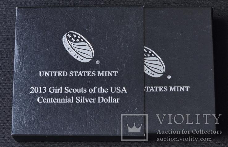 1 Доллар 2013 100 лет движению девочек-скаутов в США (0.900, 26.73г), США Пруф в Коробке, фото №5