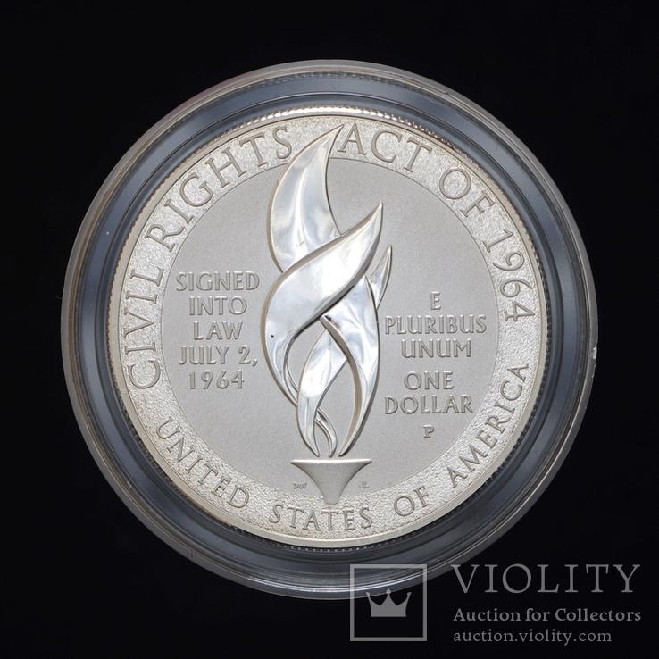 1 Доллар 2014 Закон о гражданских правах 1964 года (0.900, 26.73г), США Пруф в Коробке, фото №4