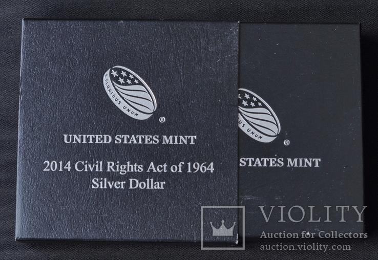 1 Доллар 2014 Закон о гражданских правах 1964 года (0.900, 26.73г), США Пруф в Коробке, фото №5