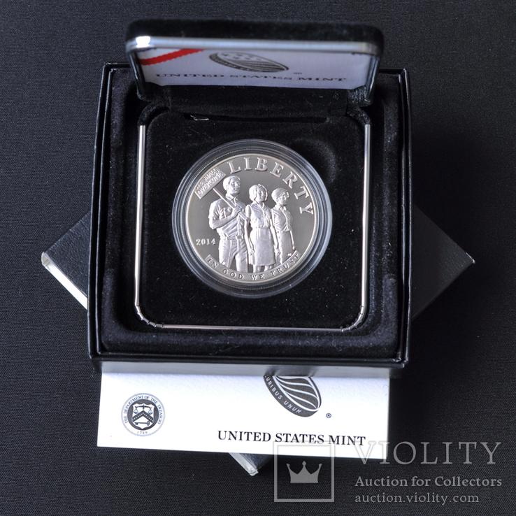 1 Доллар 2014 Закон о гражданских правах 1964 года (0.900, 26.73г), США Пруф в Коробке, фото №2