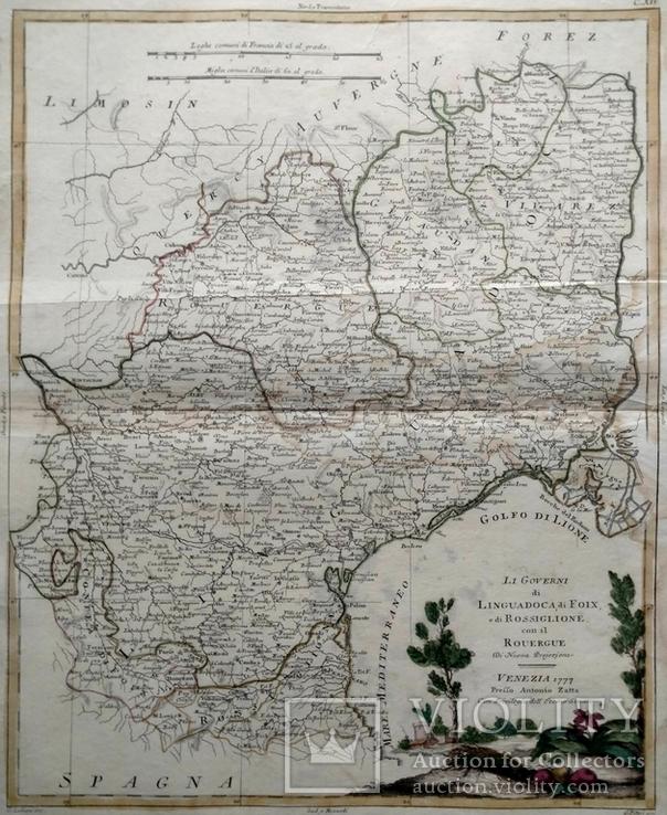 1777 Франция, Лангедок, Большая карта (37х51, Верже) СерияАнтик
