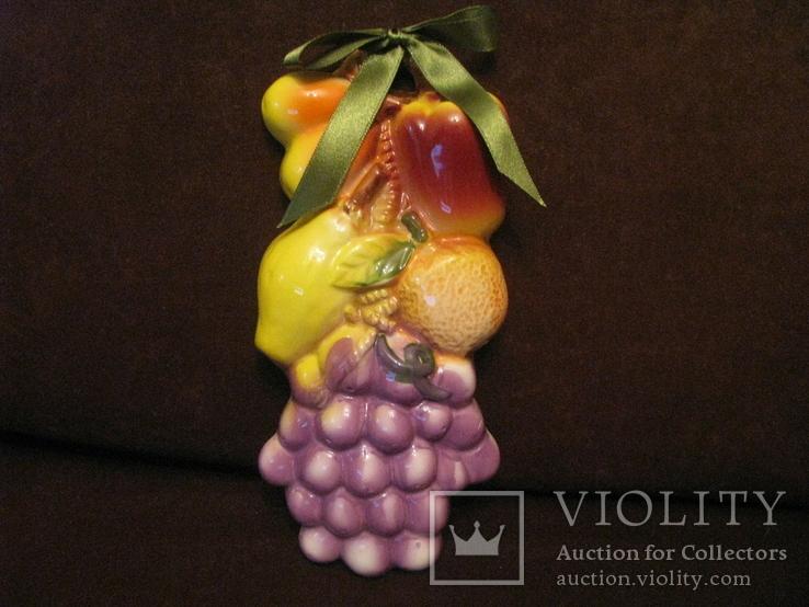Плакетка - Фруктовое ассорти с виноградом - маолика., фото №2