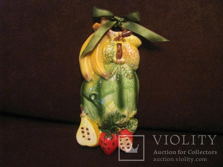 Плакетка - Фруктовое ассорти с арбузом - майолика., фото №2