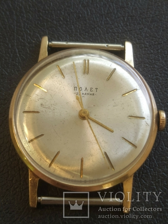 Золото СССР 583 проба 23 камня Часы Полет, фото №6