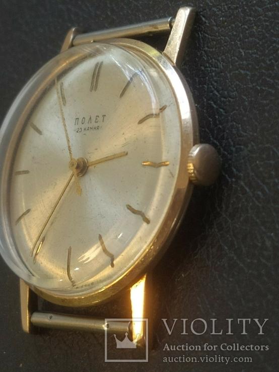 Золото СССР 583 проба 23 камня Часы Полет, фото №7