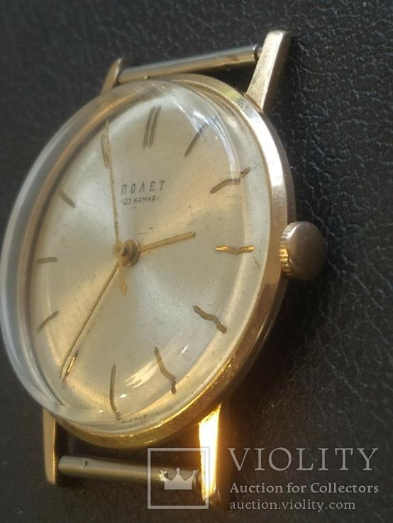 Золото СССР 583 проба 23 камня Часы Полет, фото №8