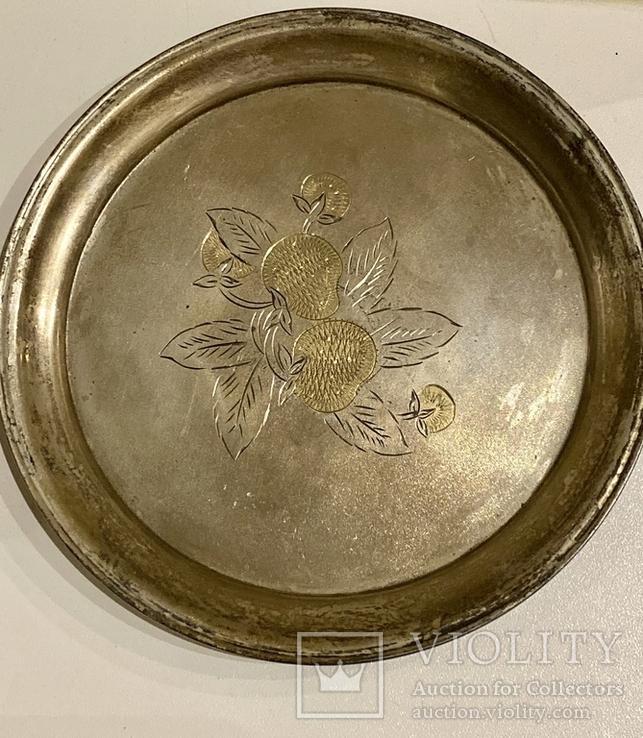 Пара рюмок на подносе. Киев 1955. Серебро 875. Вес 155,33 грамм, фото №5
