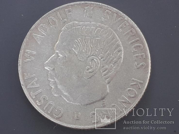 1 крона, Швеция, 1967 год, серебро 0.400 пробы, 7 грамм, фото №3