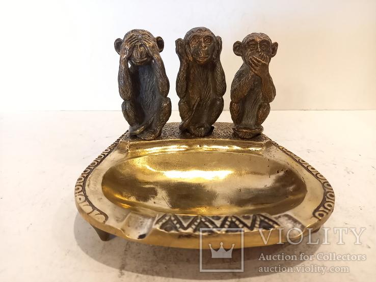 Нимор. Бронзовая статуэтка, пепельница -Три обезьяны - бронза, латунь., фото №2