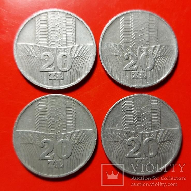20 злотых 1973, 1974, 1976. 4 шт. Лотом, фото №2