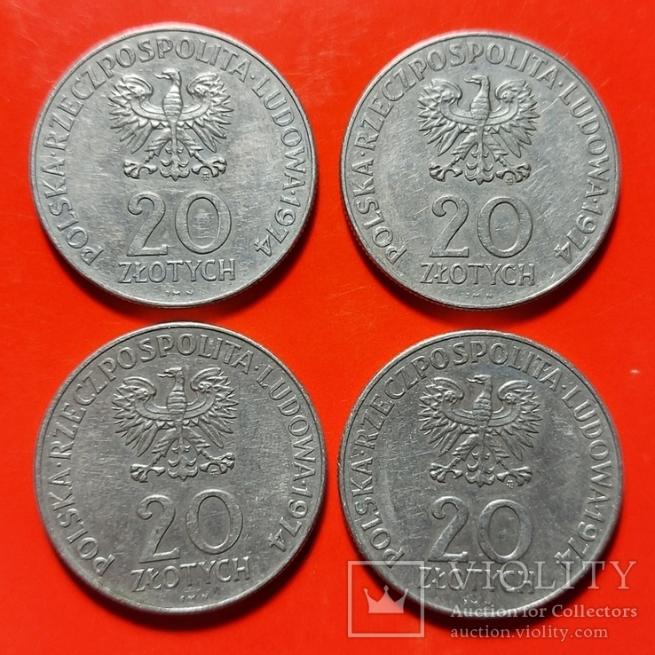 20 злотых 1974 - 4 шт. Одним лотом., фото №3