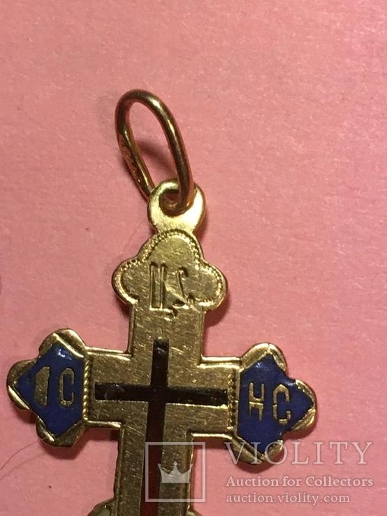 Золотой крестик в эмалях 56пр, фото №3