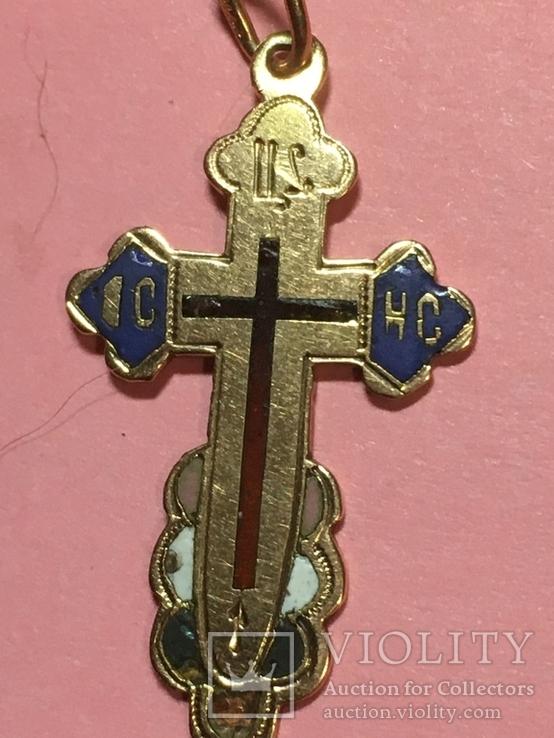 Золотой крестик в эмалях 56пр, фото №4