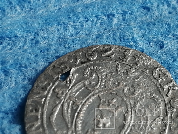 Гданьский грош 1623 года. SB под гербом. Сиг. III Ваза, фото №3