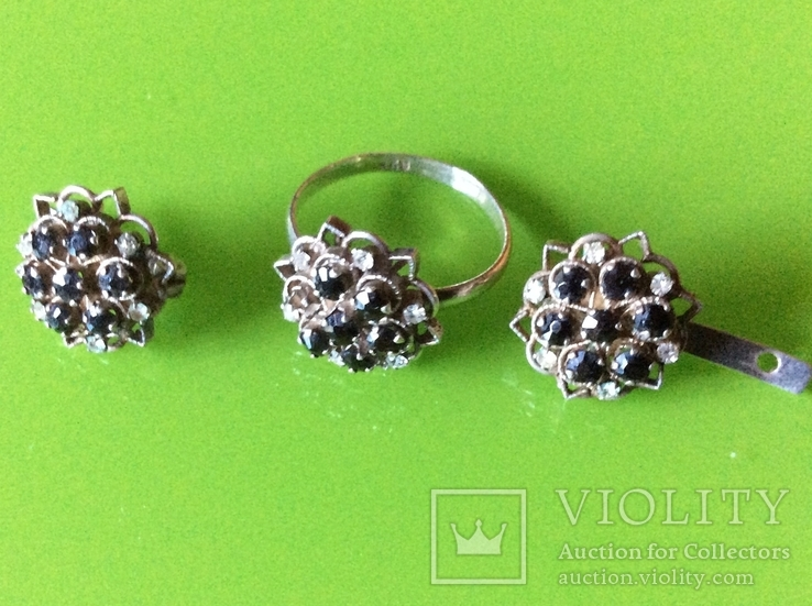 Гарнитур: серьги и кольцо с камнями, фото №2
