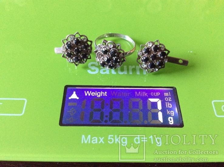 Гарнитур: серьги и кольцо с камнями, фото №3