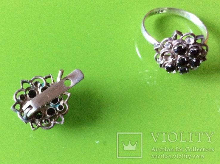 Гарнитур: серьги и кольцо с камнями, фото №5